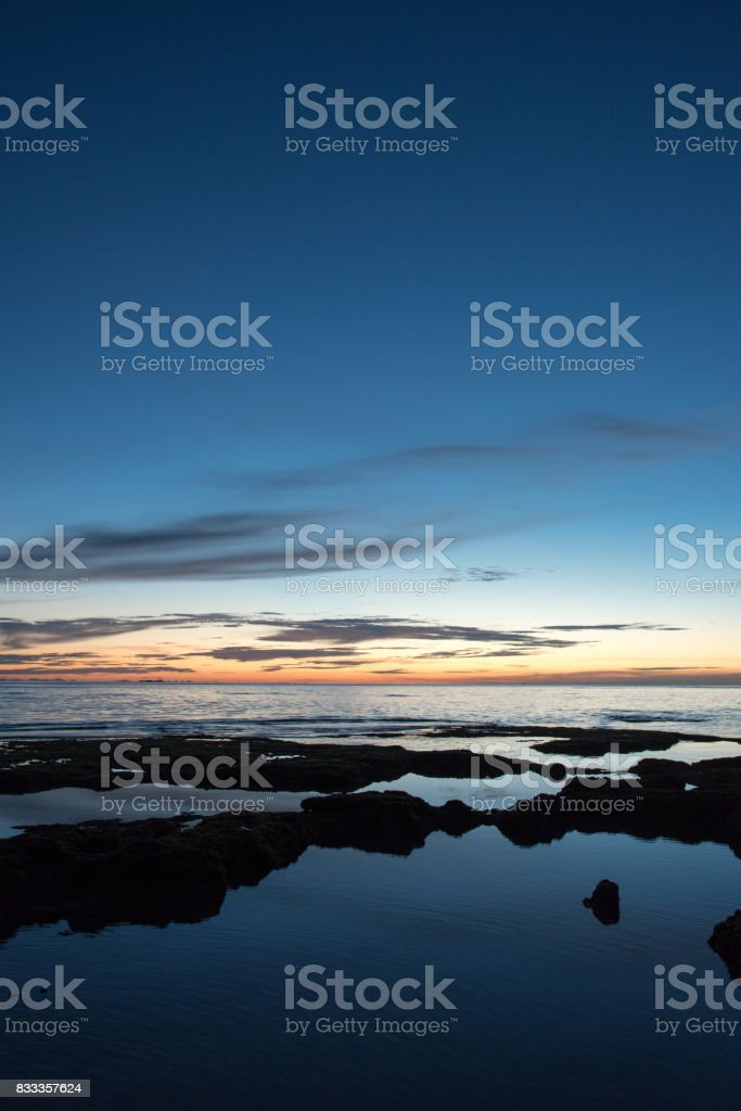 Sea and sunset and colorful sky stock photo
