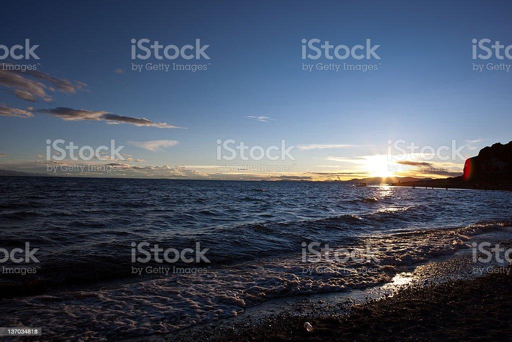 Sea and Sunset Beach stock photo