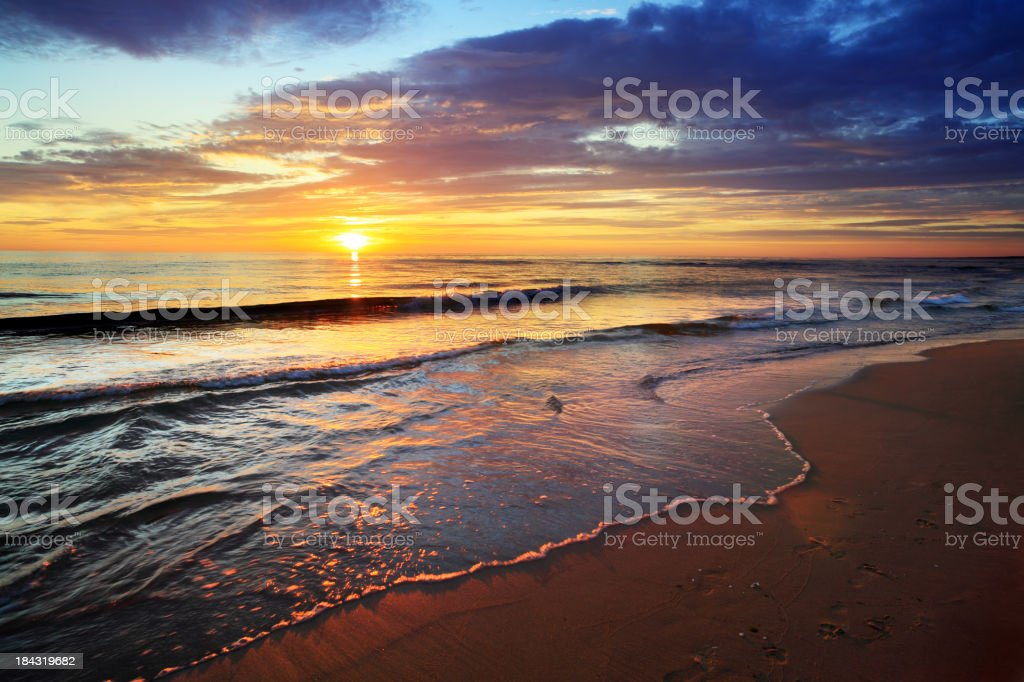 Sea and Sunset Beach royalty-free stock photo