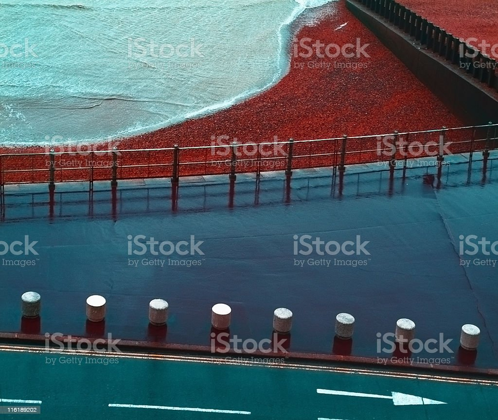 Sea and traffic signs stock photo