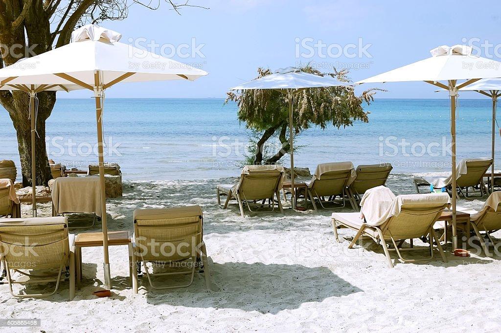 Sea and umbrellas in Greece. stock photo