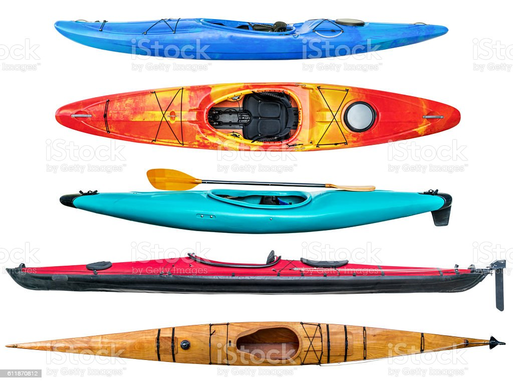 sea and whitewater kayaks collection stock photo