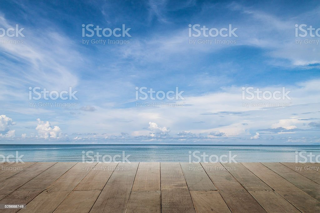 sea and wooden walkway on summer stock photo