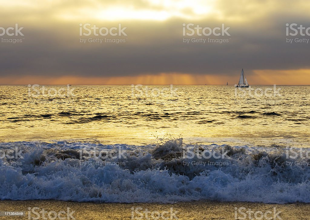 sea and yacht royalty-free stock photo