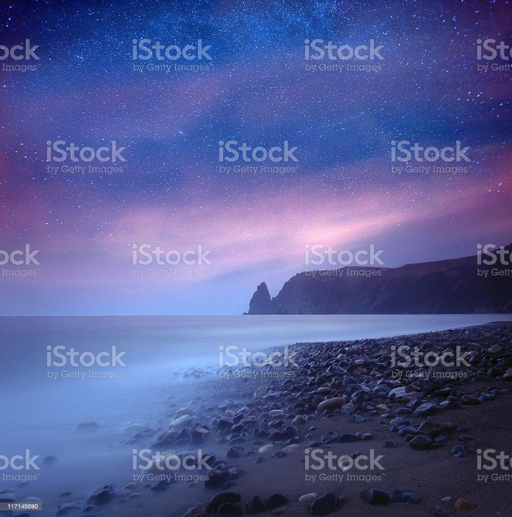 Sea at night under milky way stars