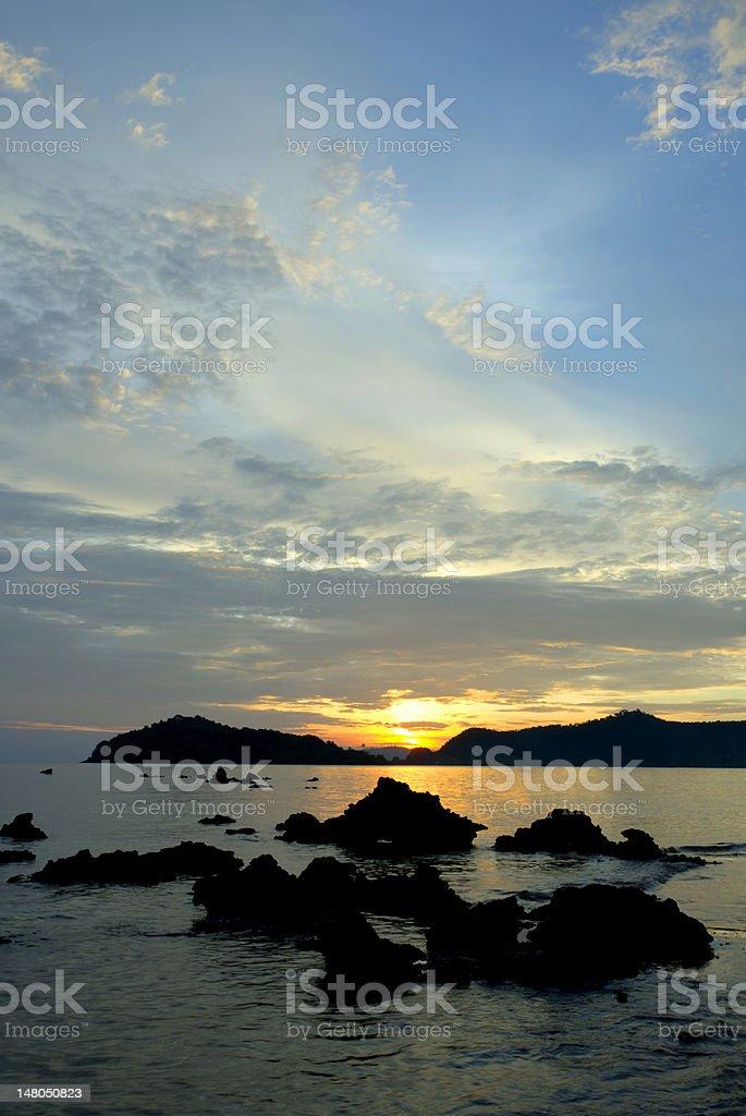 Sea at sunset royalty-free stock photo