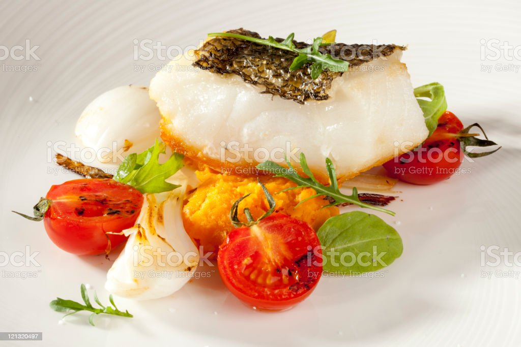Sea bass and vegetables for dinner stock photo