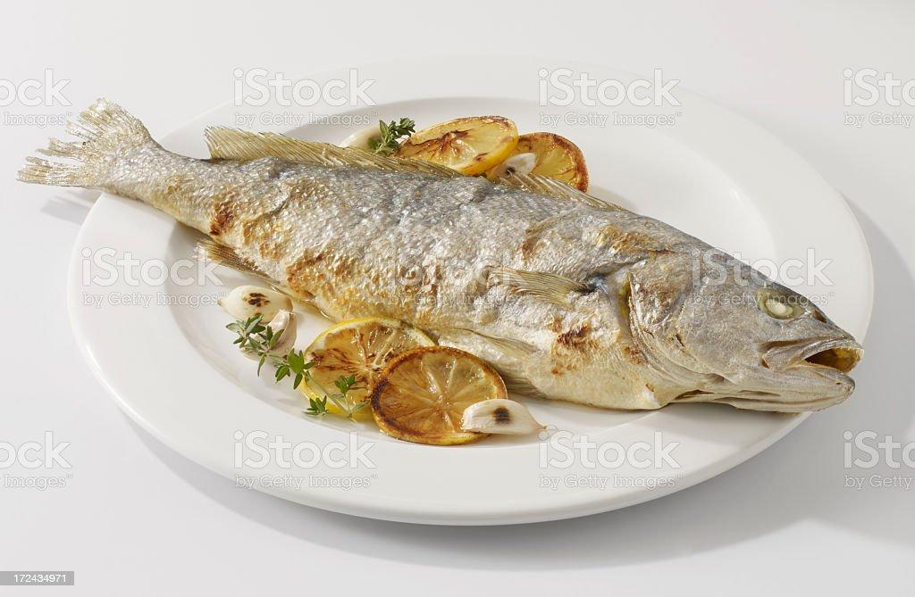 Sea bass dish royalty-free stock photo