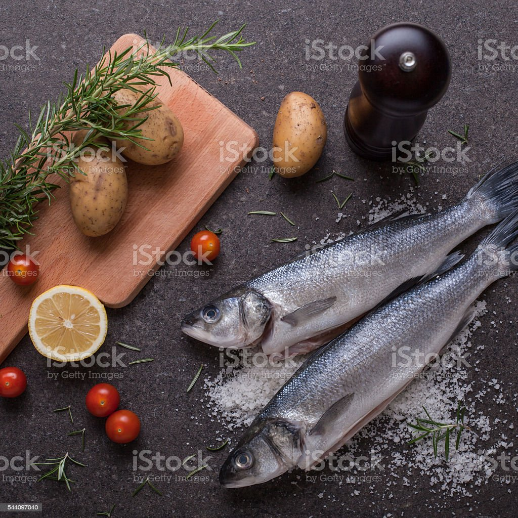 Sea bass in the oven ingredients stock photo