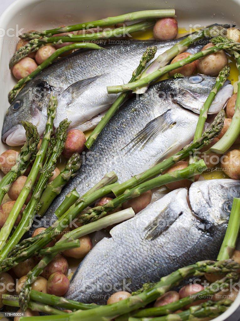 Sea Bass on vegetables stock photo