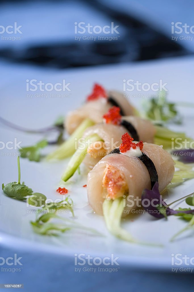 Sea Bass Sushi Roll royalty-free stock photo