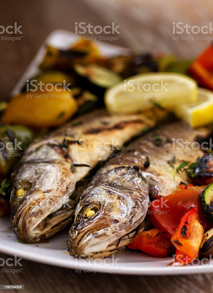 Sea bass with grilled vegetables royalty-free stock photo