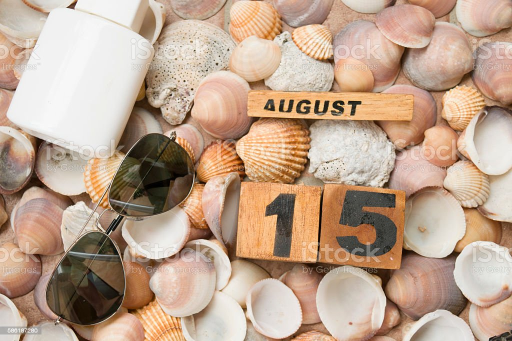 sea beach and holidays  at the 15 ogf august stock photo