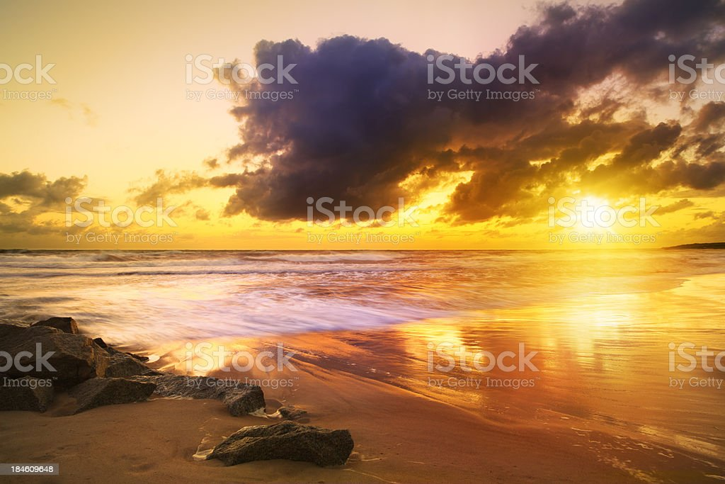 Sea Beach During Colorful Sunset - Long exposure HDR image royalty-free stock photo