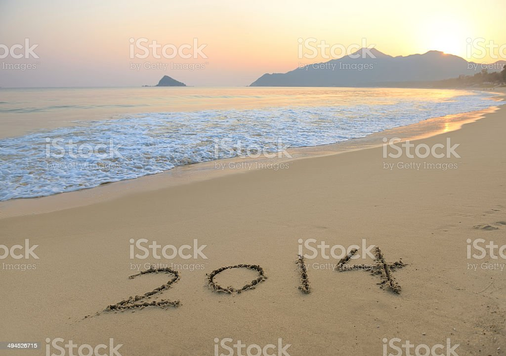 2014 sea beach sand with wave royalty-free stock photo