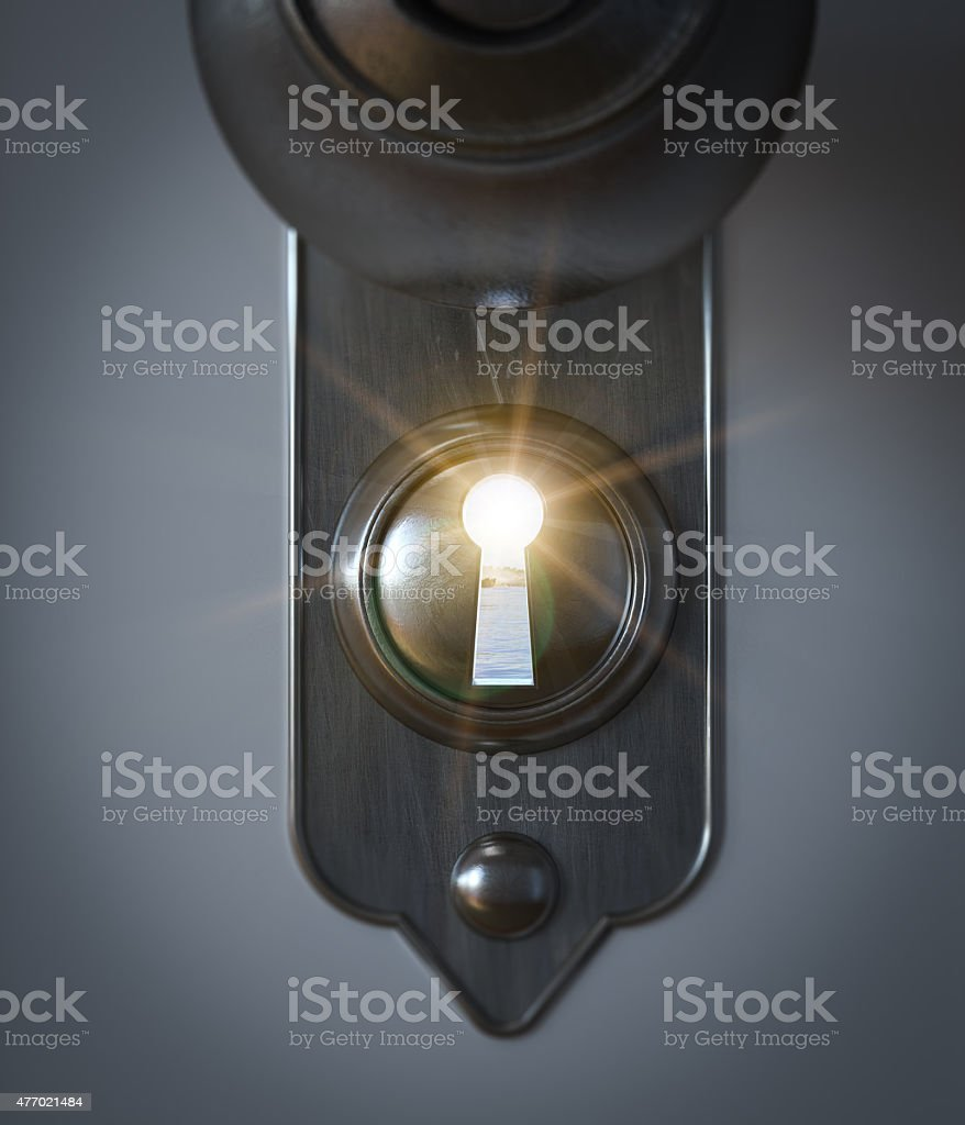 sea beach seen through a keyhole vacation concept stock photo