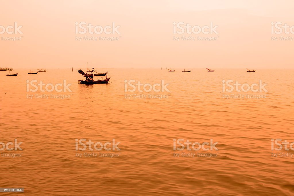 Sea beach sunset background travel thailand coconut nature stock photo