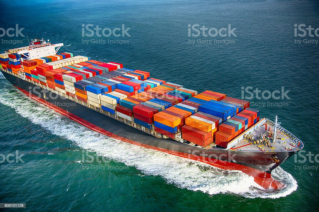 Sea Bearing Cargo Ship stock photo