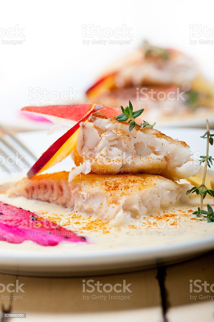 sea bream fillet butter pan fried stock photo