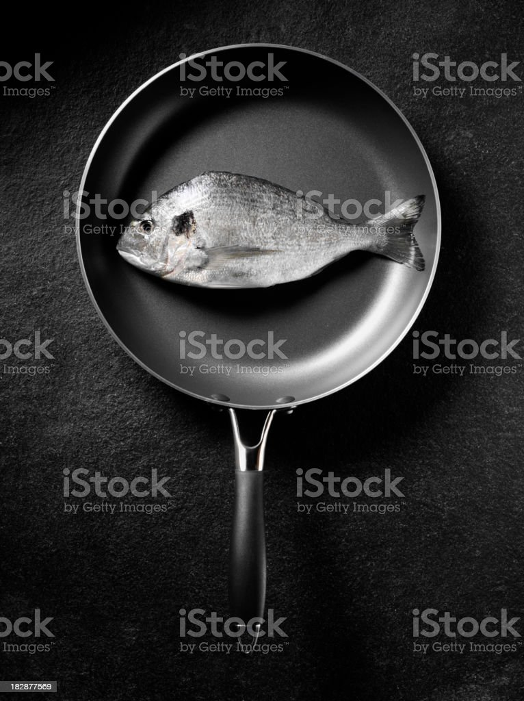 Sea Bream in a Frying Pan stock photo