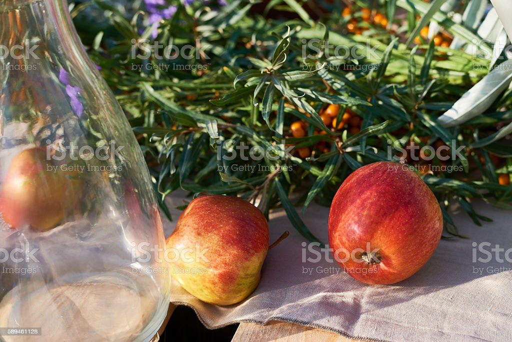 Sea buckthorn and apples stock photo