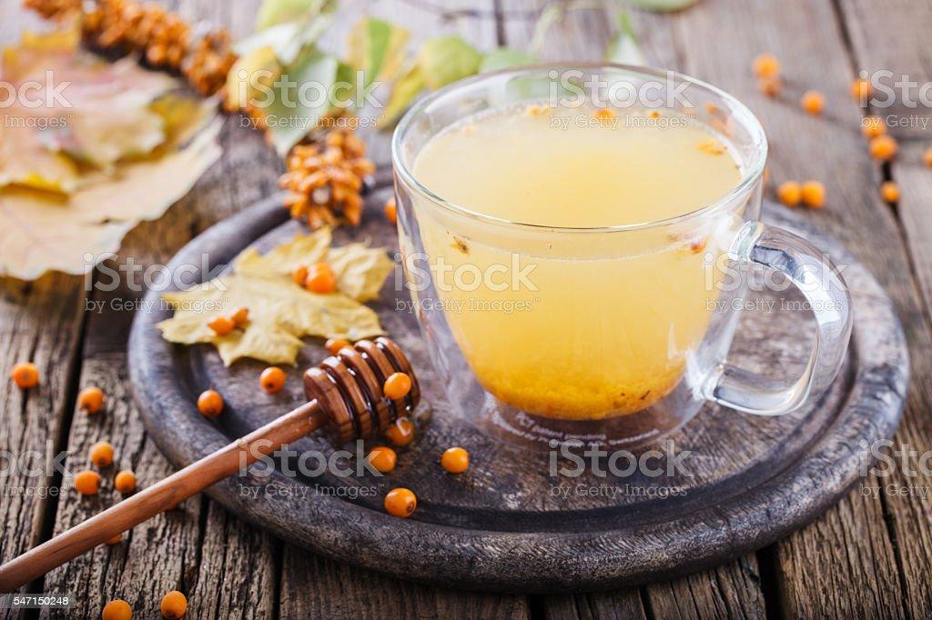 Sea buckthorn tea for health stock photo