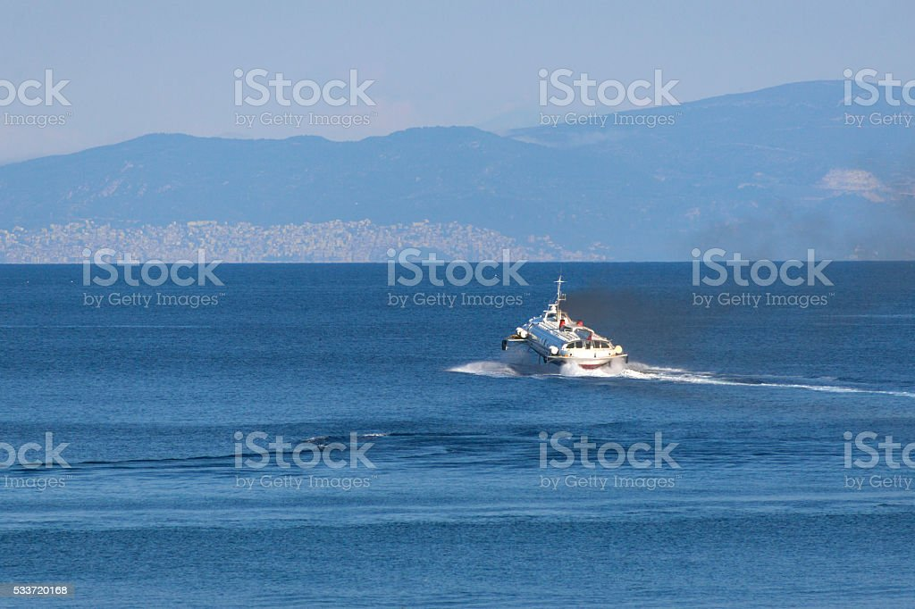 sea bus transportation from thassos island  at kavala greece stock photo
