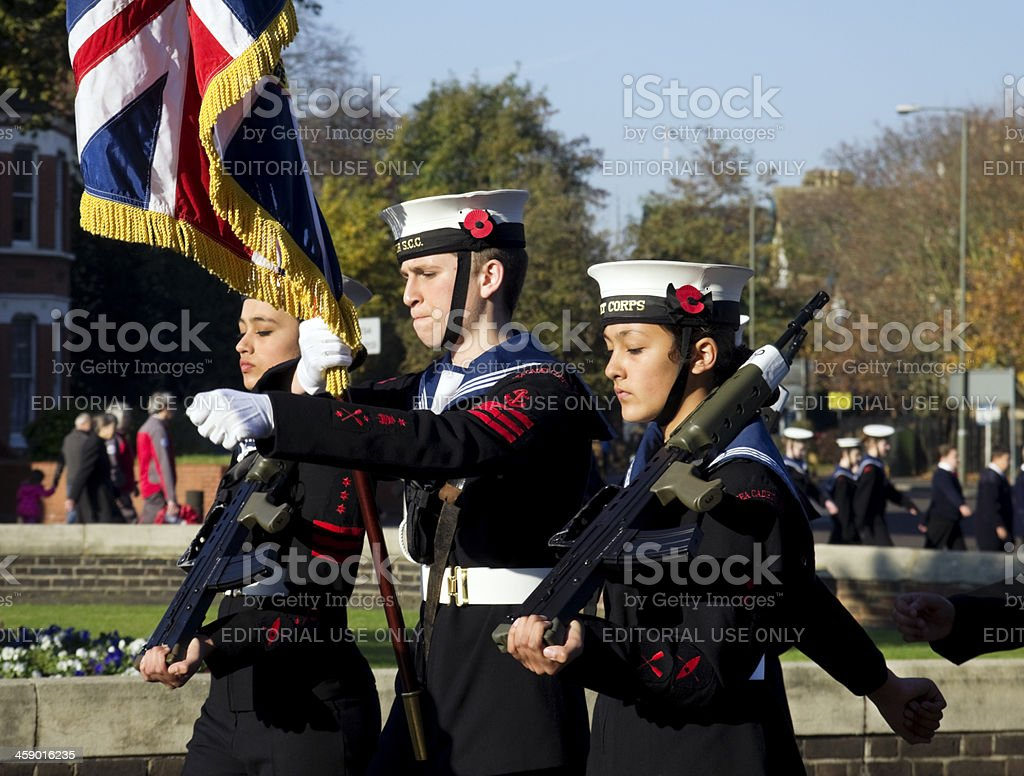 Sea Cadets marching on Remembrance Sunday stock photo