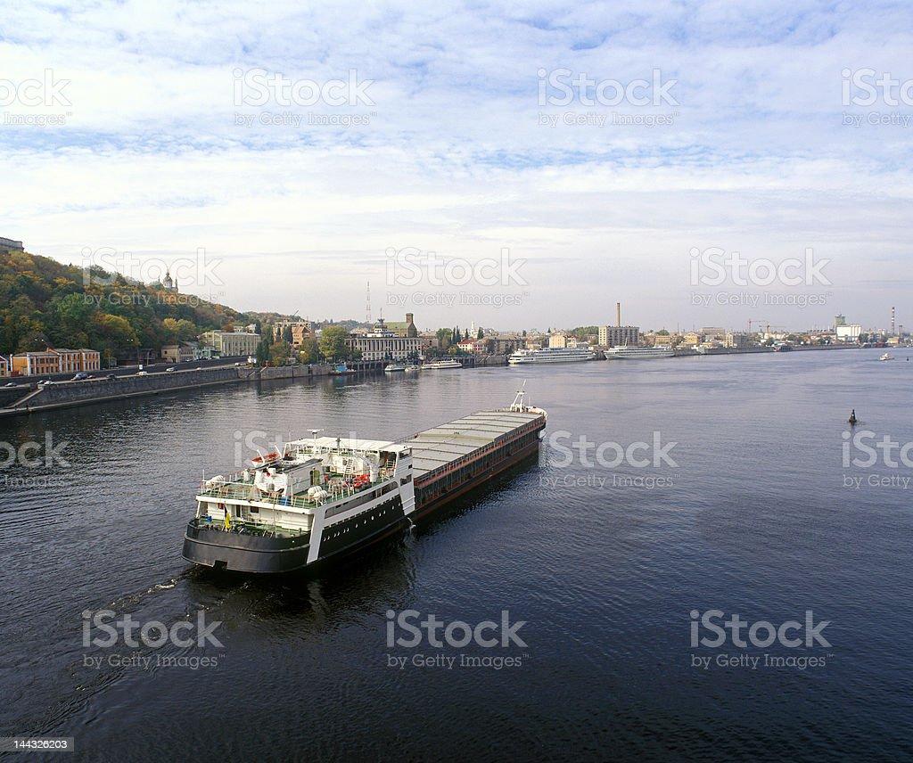 Cargo ship sailing up the Dnieper river.