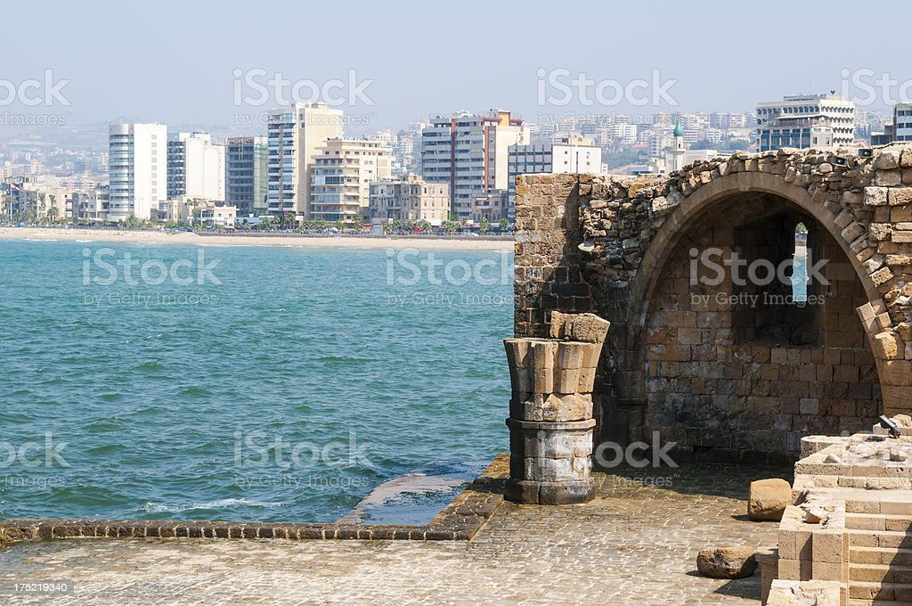 Sea Castle and city in Sidon, Lebanon stock photo