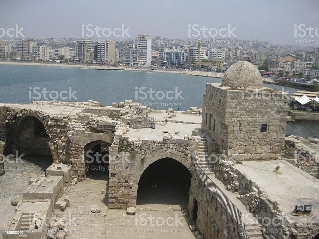 Sea Castle in Sidon, Lebanon stock photo