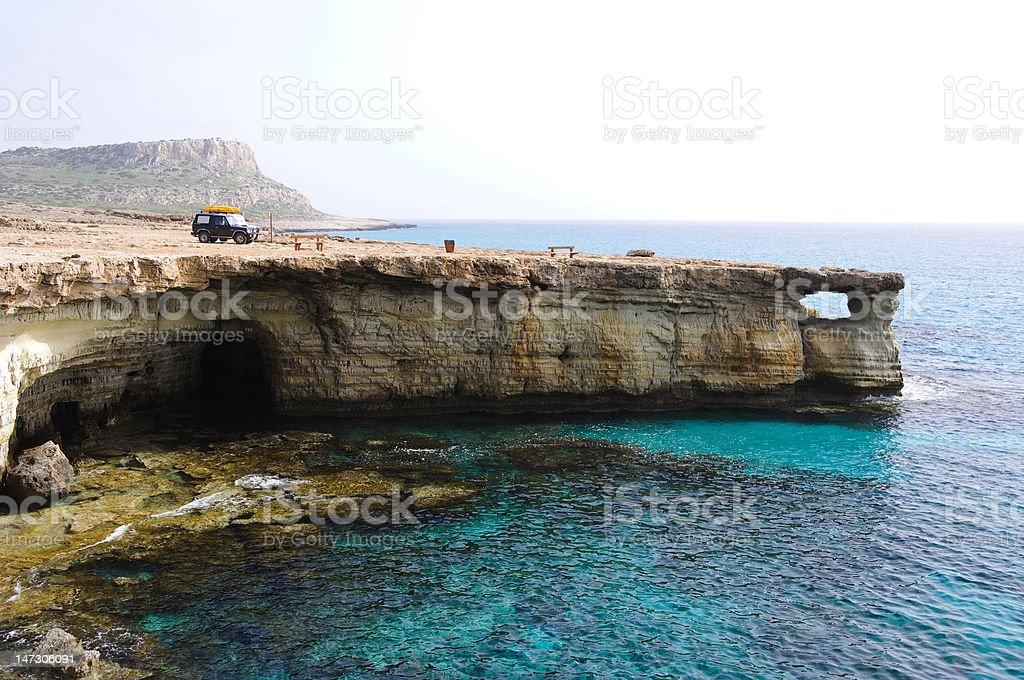 Sea caves arc stock photo