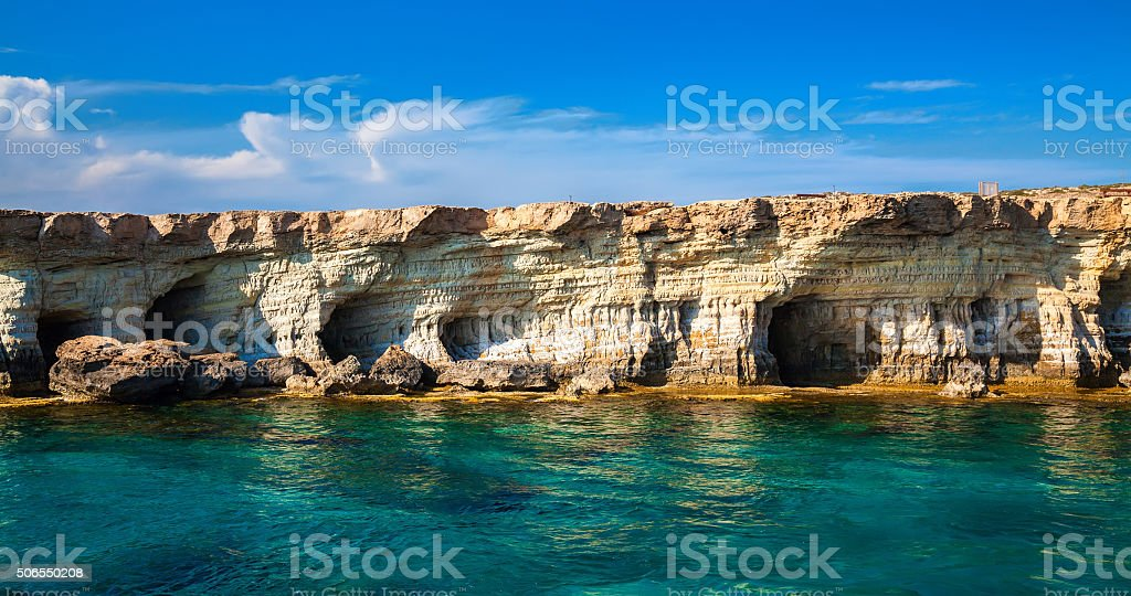 sea caves at Cape Greco, Cyprus stock photo