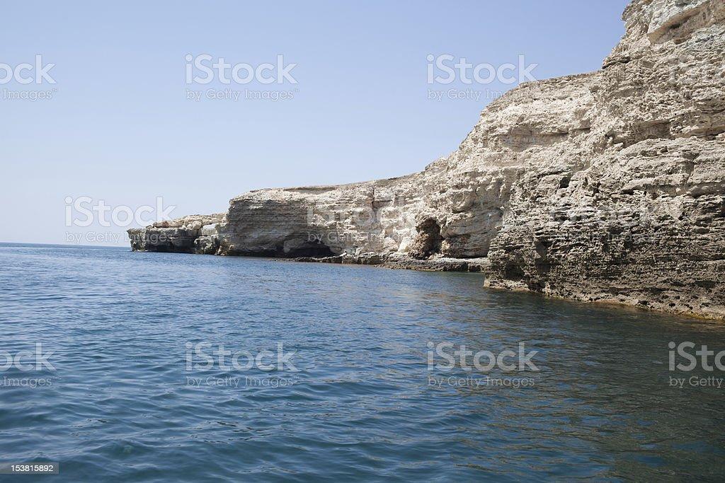 Sea caves in Tarhankut, Crimea, Ukraine stock photo