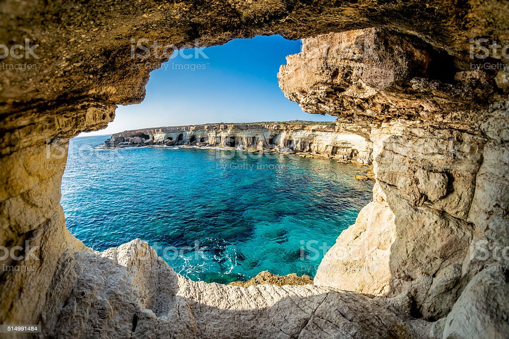 Sea Caves near Ayia Napa, Cyprus stock photo