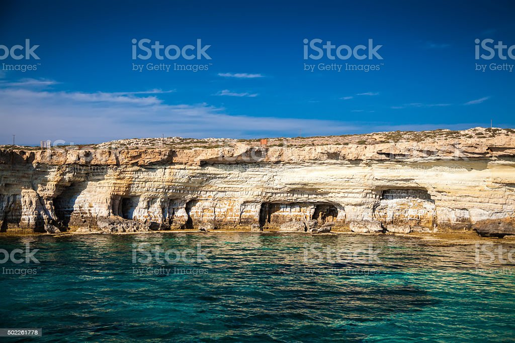 sea caves near Ayia Napa stock photo
