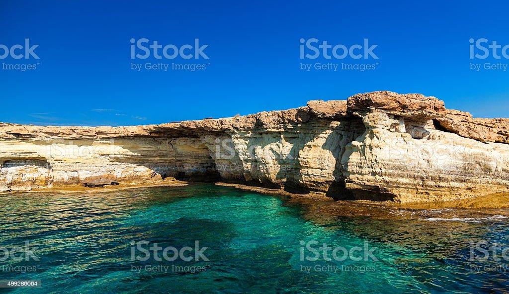 Sea Caves near Cape Greco stock photo