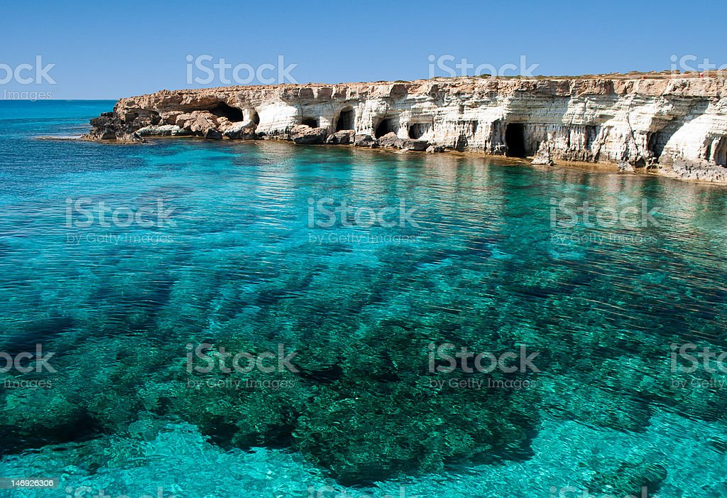 Sea caves near Cape Greko stock photo