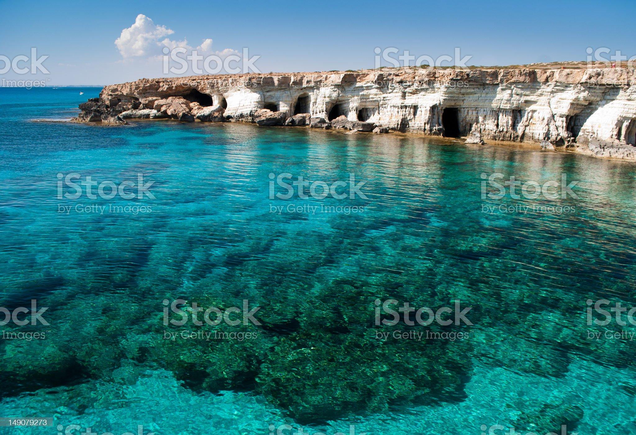 Sea caves near Cape Greko royalty-free stock photo
