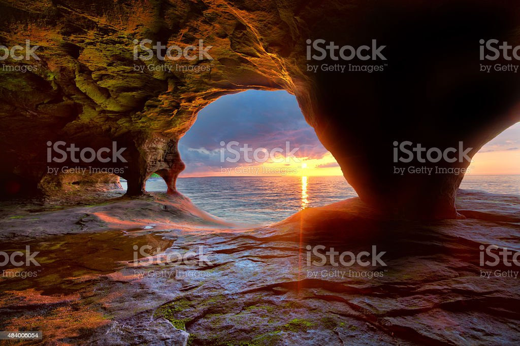 Sea Caves on Lake Superior stock photo