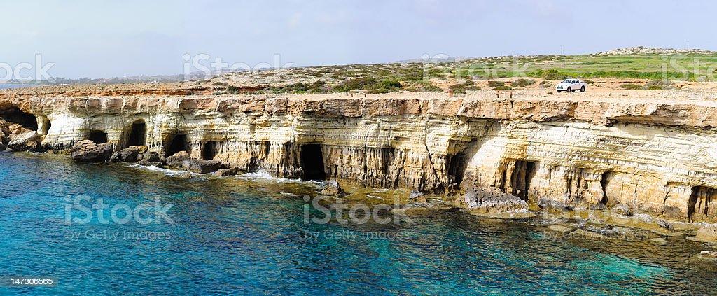 Sea caves panorama stock photo