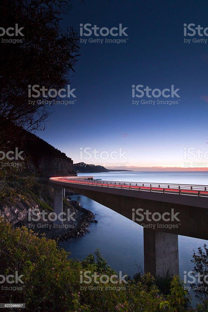Sea Cliff Bridge at dawn stock photo
