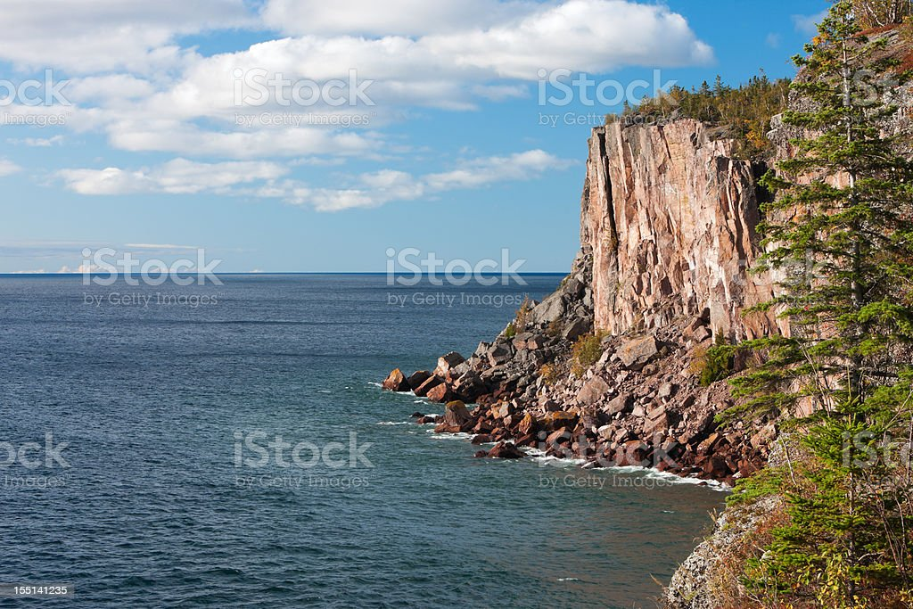 Sea cliff overlooking Lake Superior. royalty-free stock photo