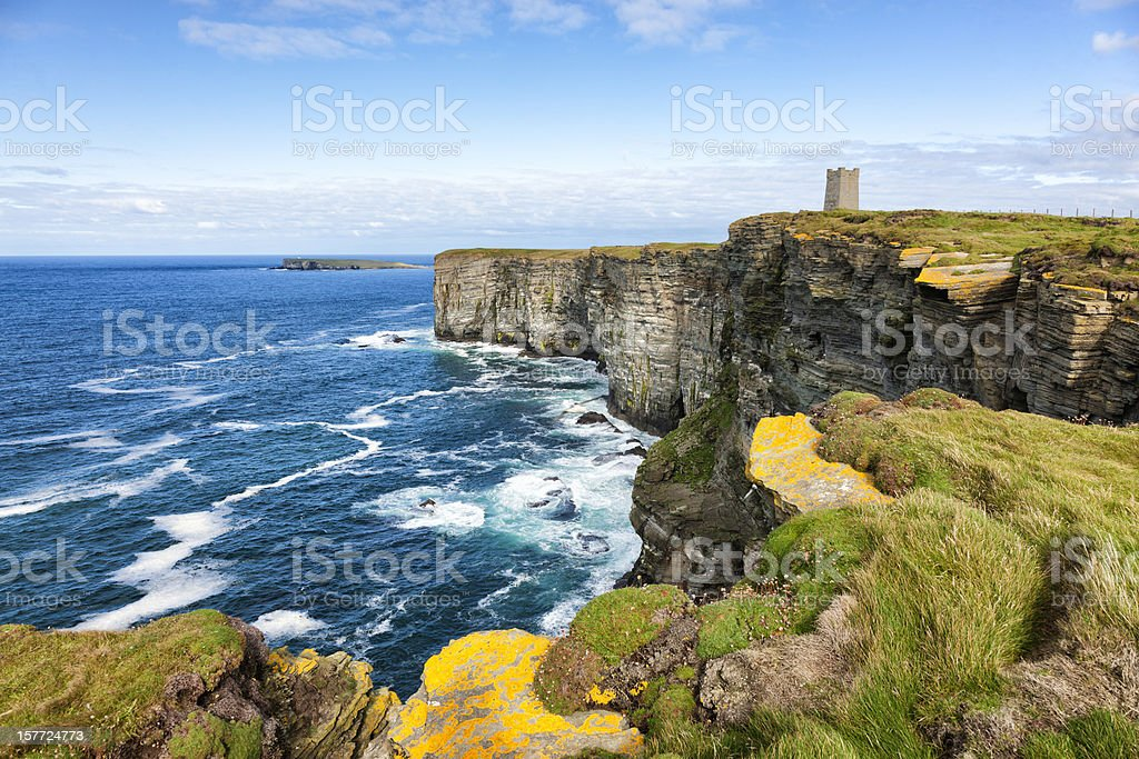 Sea Cliffs at Marwick Head, Orkney stock photo