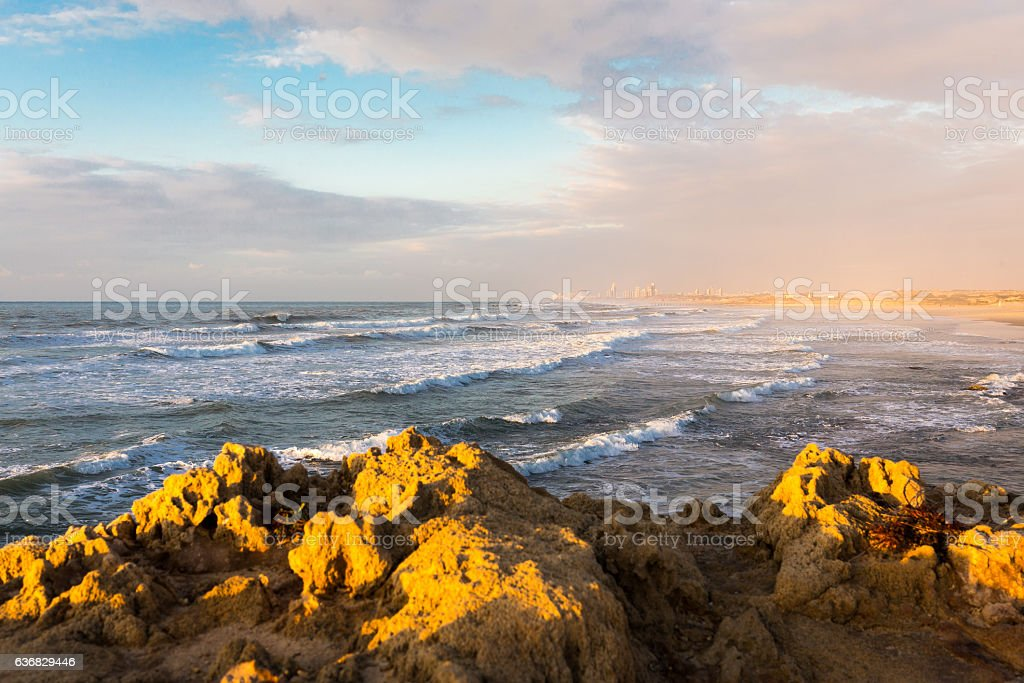 Sea cliffs view city buildings panorama nature beauty. stock photo