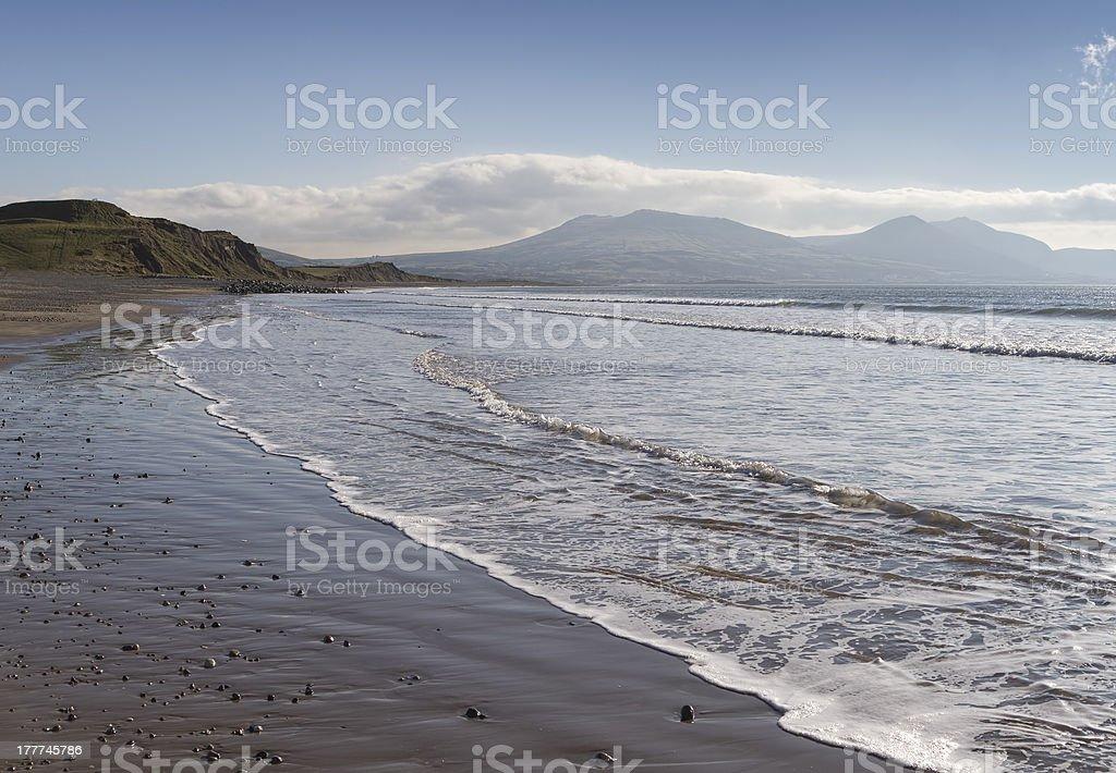 Sea coast at Dinas Dinlle in Gwynedd royalty-free stock photo