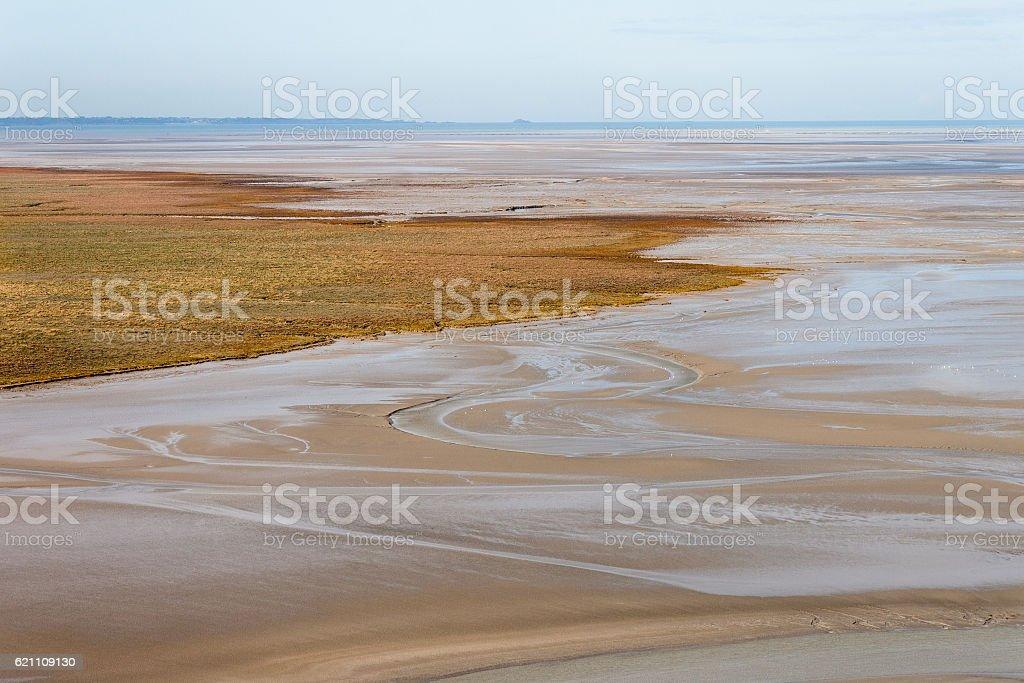Sea coast at low tide stock photo