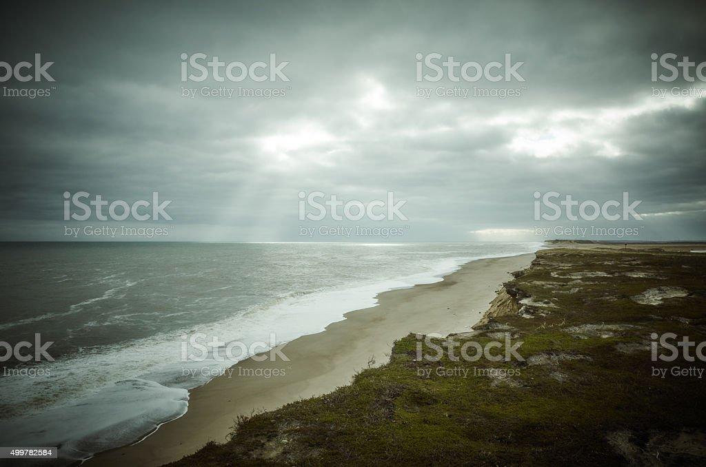 Sea coast beach sky clouds stock photo
