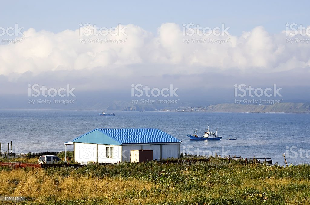 sea coast of island Kunashir royalty-free stock photo