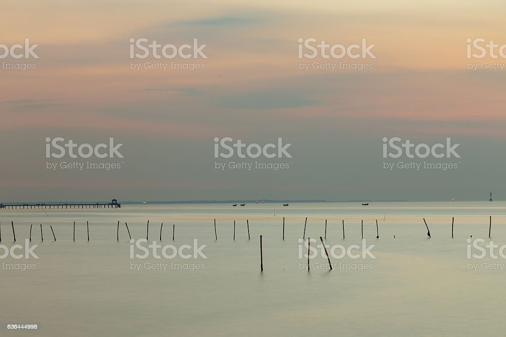 Sea coast skyline with beautiful after sunset sky stock photo
